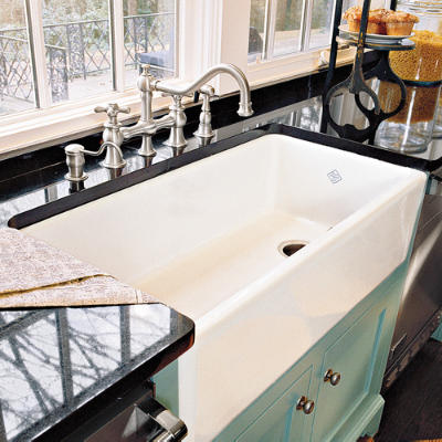 Porcelain Farmhouse Kitchen Sink : Colorful Contrast Sink - Farmhouse Sinks with Vintage Charm - Southern ...