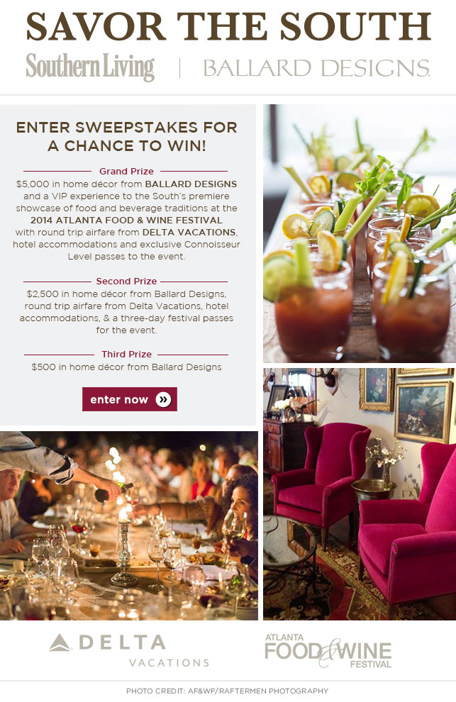 Enter the Southern Living Savor the South Sweepstakes