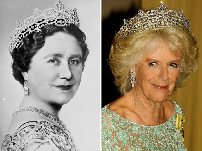 """Princess Eugenie Will Likely Wear This """"Ancestral"""" Tiara to Her Wedding 100318-tiaras-queen-mother-camilla-embed"""