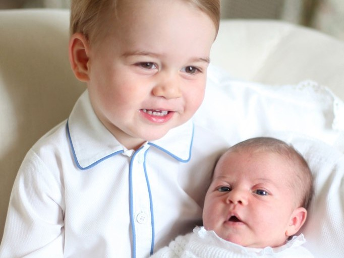 Smiling Prince George and Newborn Princess Charlotte