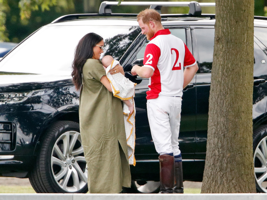 Meghan, Duchess of Sussex, Archie Harrison Mountbatten-Windsor and Prince Harry, Duke of Sussex attend the King Power Royal Charity Polo Match, in which Prince William, Duke of Cambridge and Prince Harry, Duke of Sussex were competing for the Khun Vich...