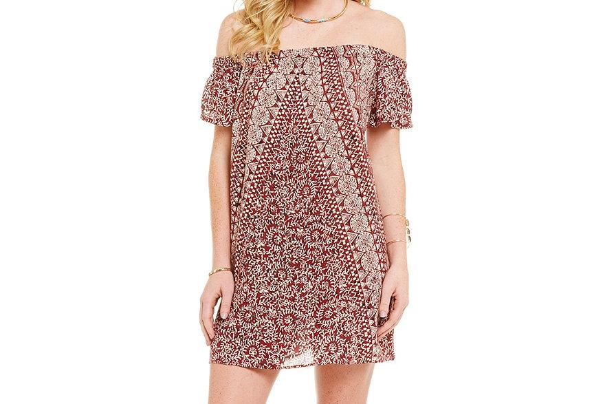 Off-The-Shoulder Printed Dress by Angie
