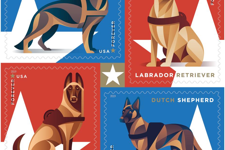 New Forever Stamp Designs from USPS Feature Working Military Dogs
