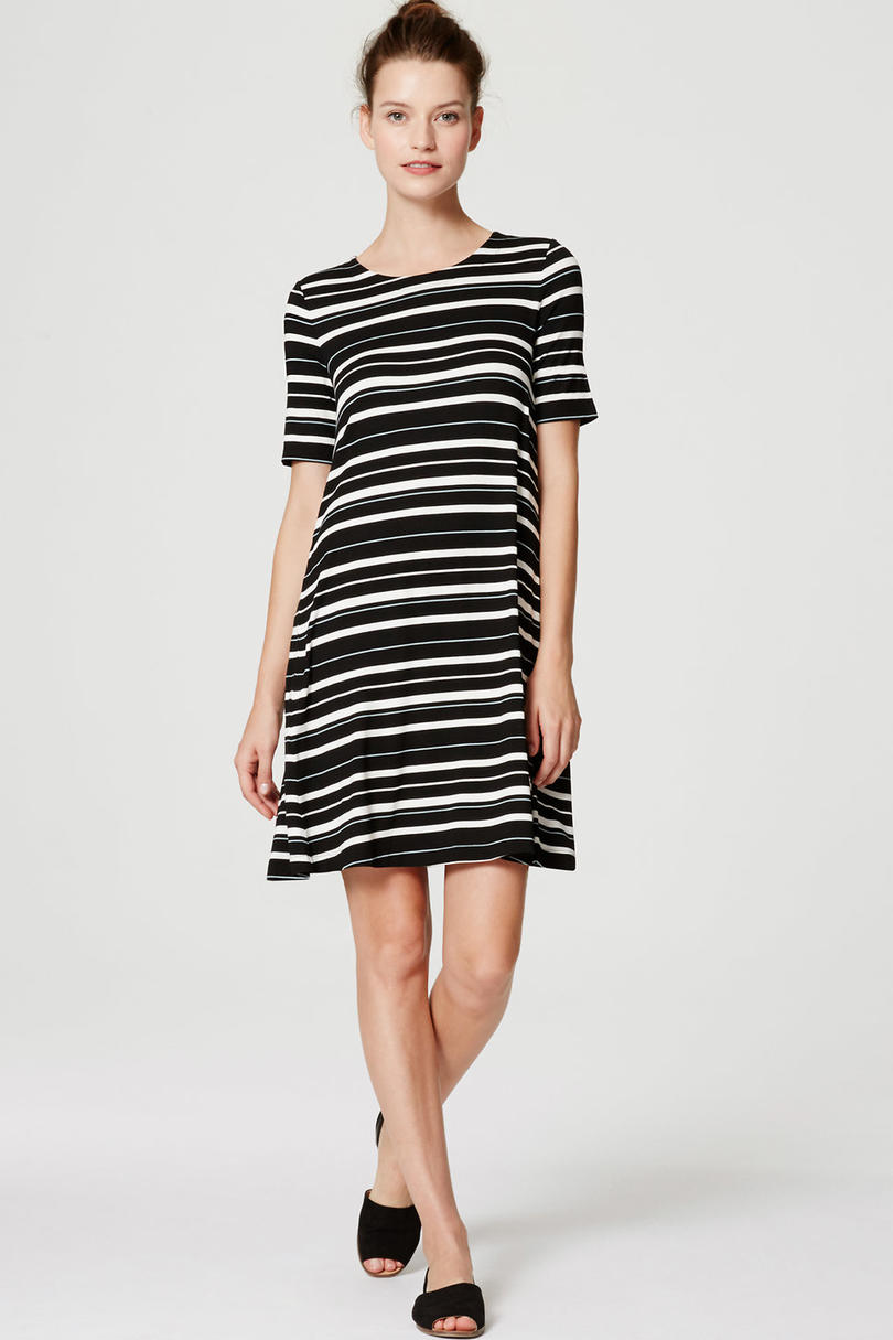 Striped Short Sleeve Swing Dress from Loft