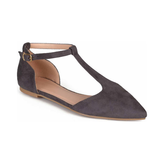 T-strap Pointed Toe Faux Suede Flats