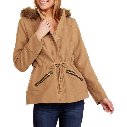 Faux Wool Hooded Coat with Fur-Trimmed Hood
